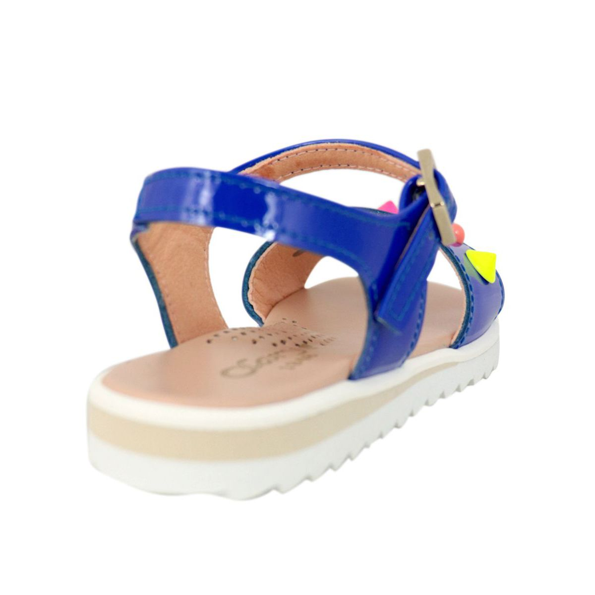 Sandal in shiny leather with multicolor inserts Electric blue Clarys