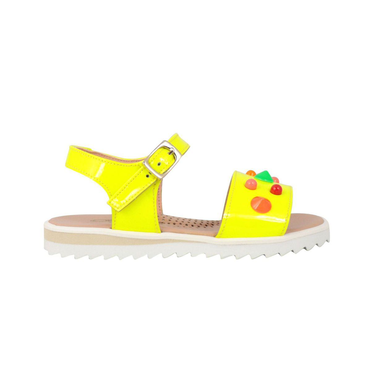 Sandal in shiny leather with multicolor inserts Fluo yellow Clarys