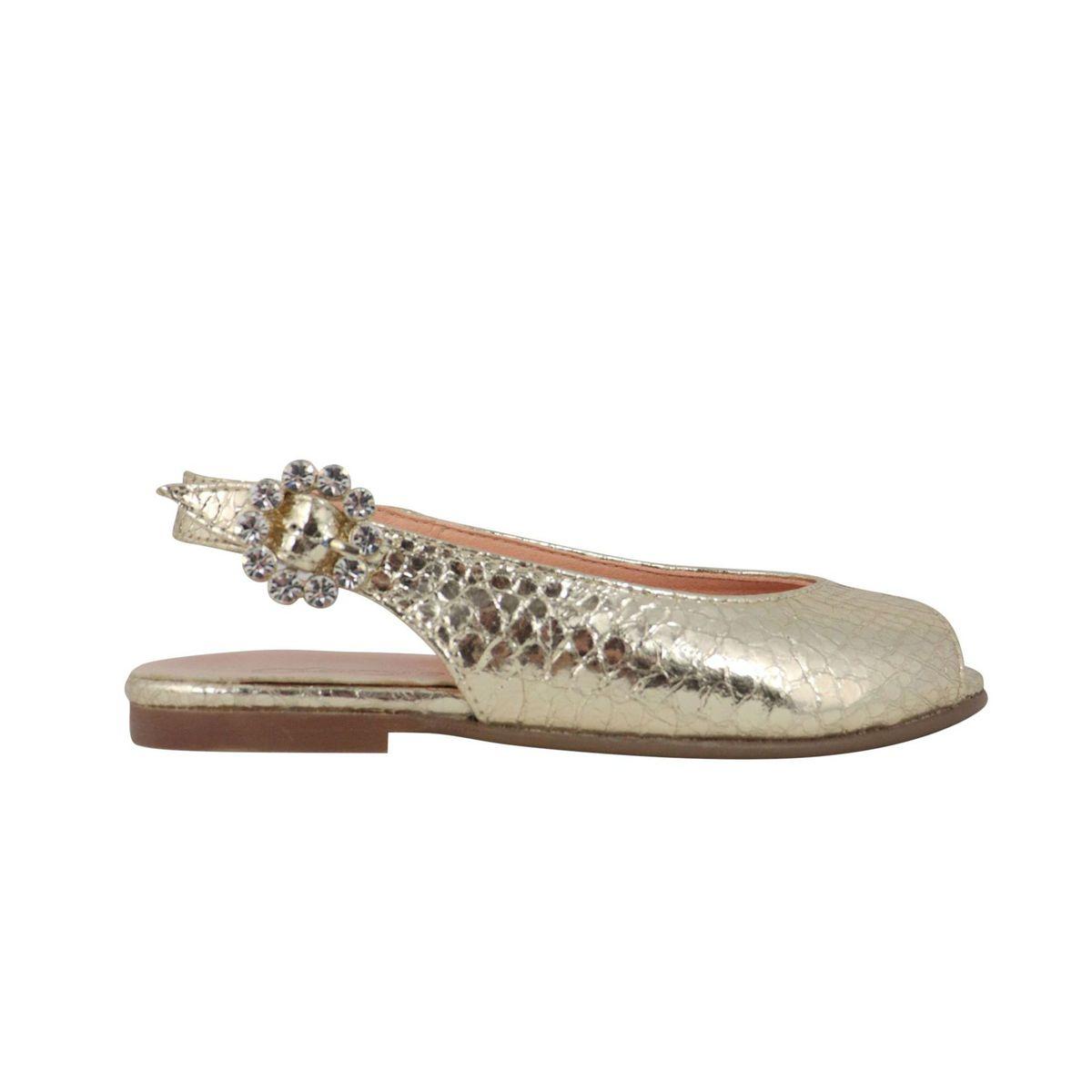 Peep-toe ballerina in leather with rhinestone buckle Platinum Clarys