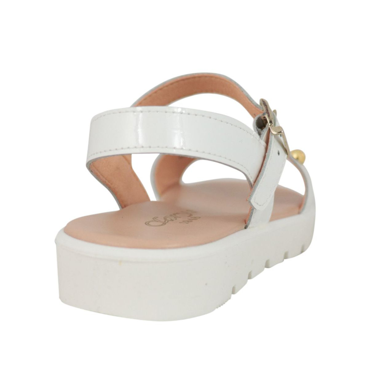 Leather sandal with buckle and contrasting inserts White Clarys