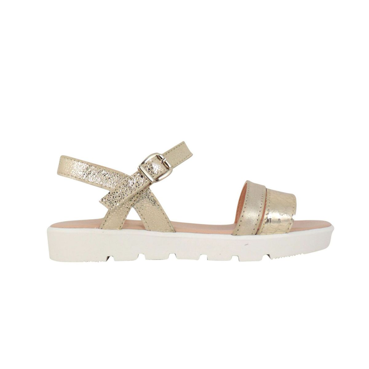 Leather sandal with buckles Platinum Clarys