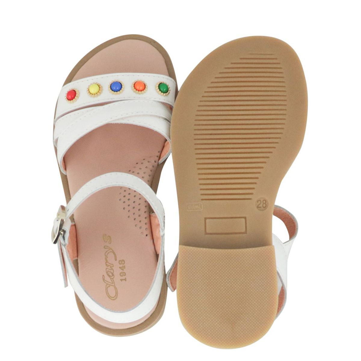 Leather sandals with buckle and multicolor inserts White Clarys