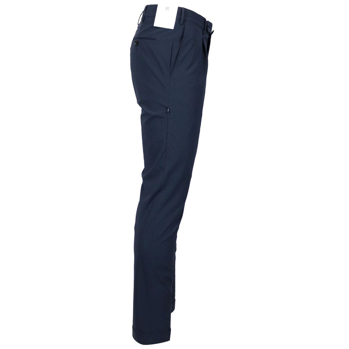 Skinny trousers in technical fabric with pleats and additional side pocket Blue PT TORINO