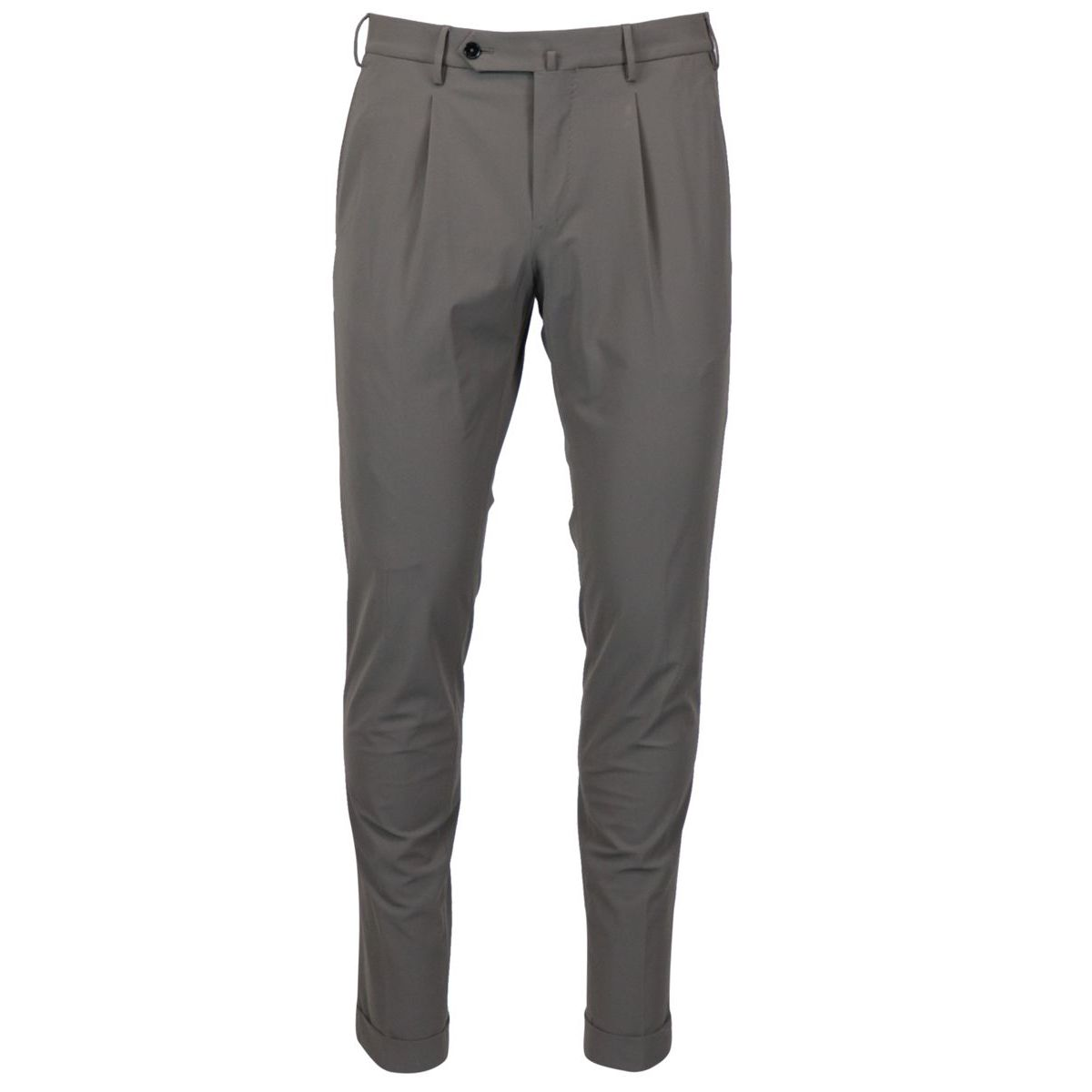 Skinny trousers in technical fabric with pleats and additional side pocket Grey PT TORINO