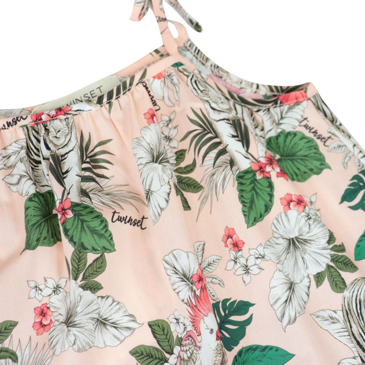 Flared dress with straps in printed cotton poplin Rose Twin-Set
