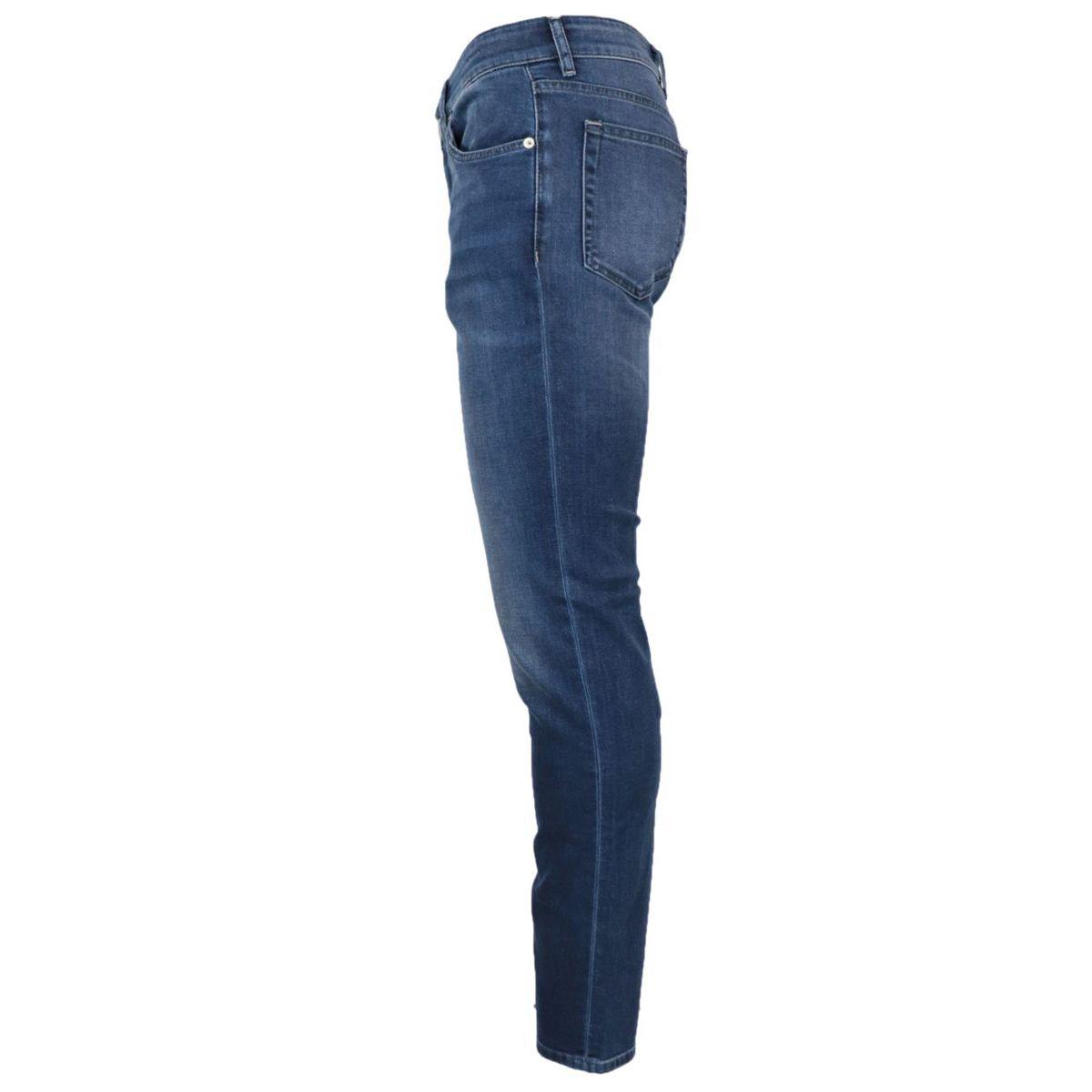 Slim-fit jeans in used-effect cotton denim Dark denim PT TORINO