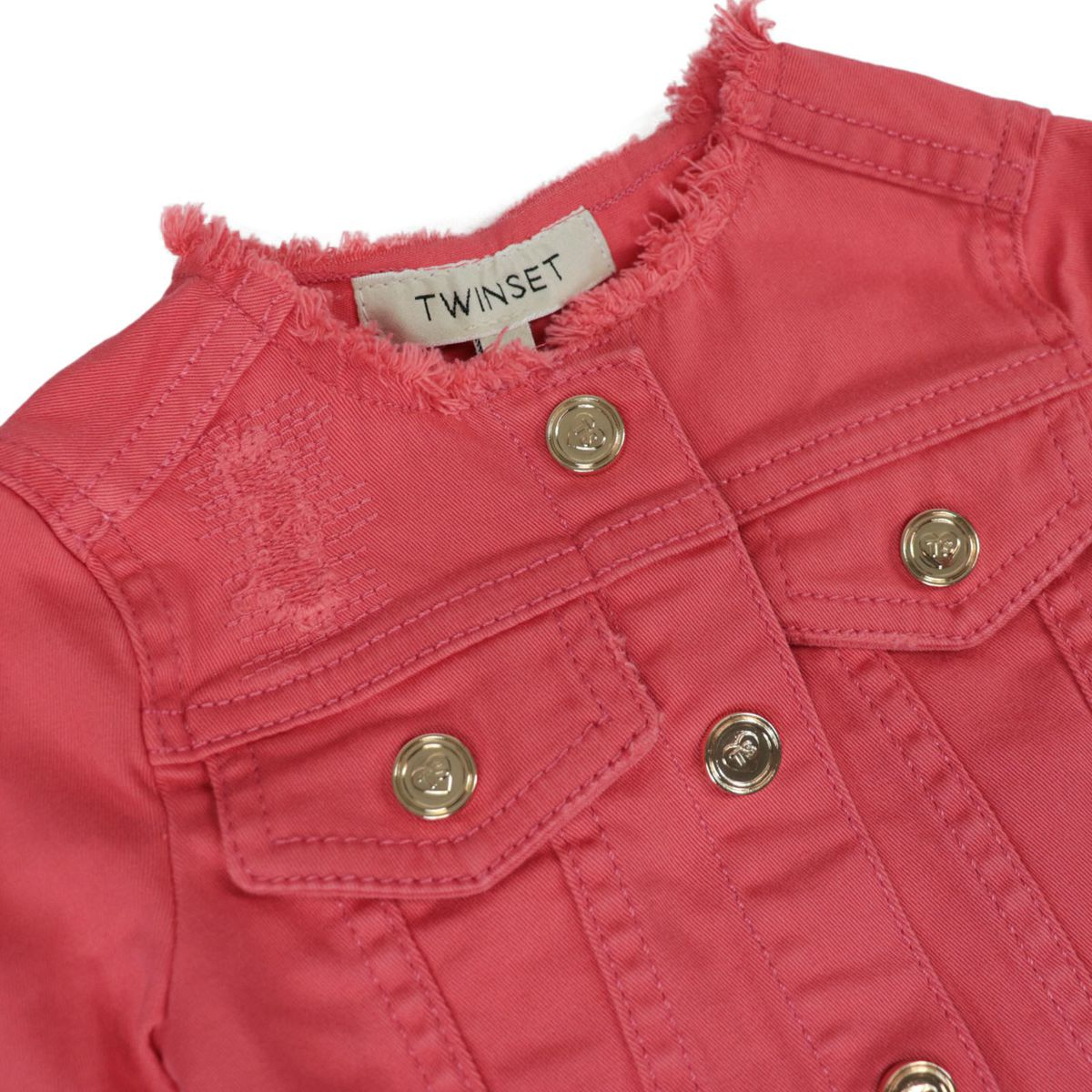 Denim-effect stretch cotton jacket with frayed profiles Coral Twin-Set