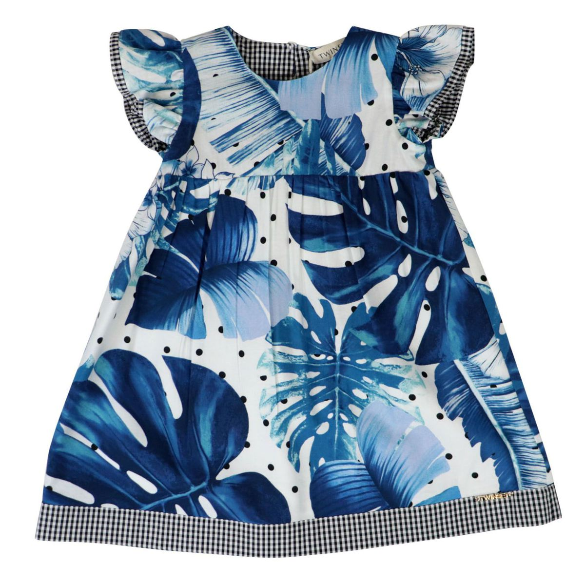 Printed twill dress with vichy fabric details Blue Twin-Set