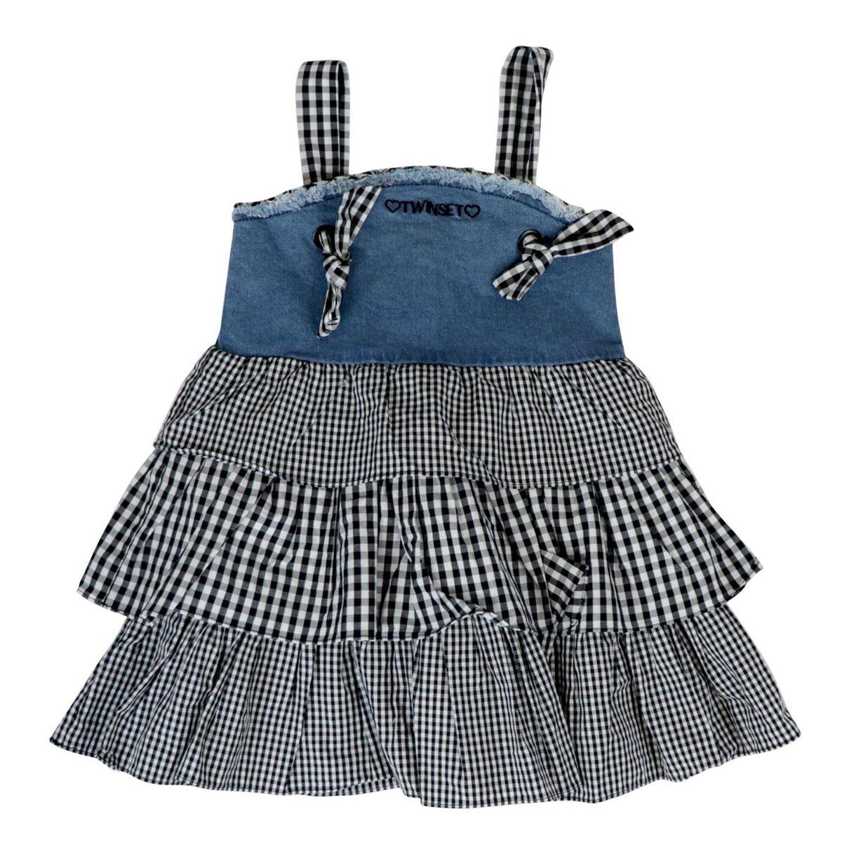 Denim dress with flounced skirt in cotton with vichy pattern Medium denim Twin-Set