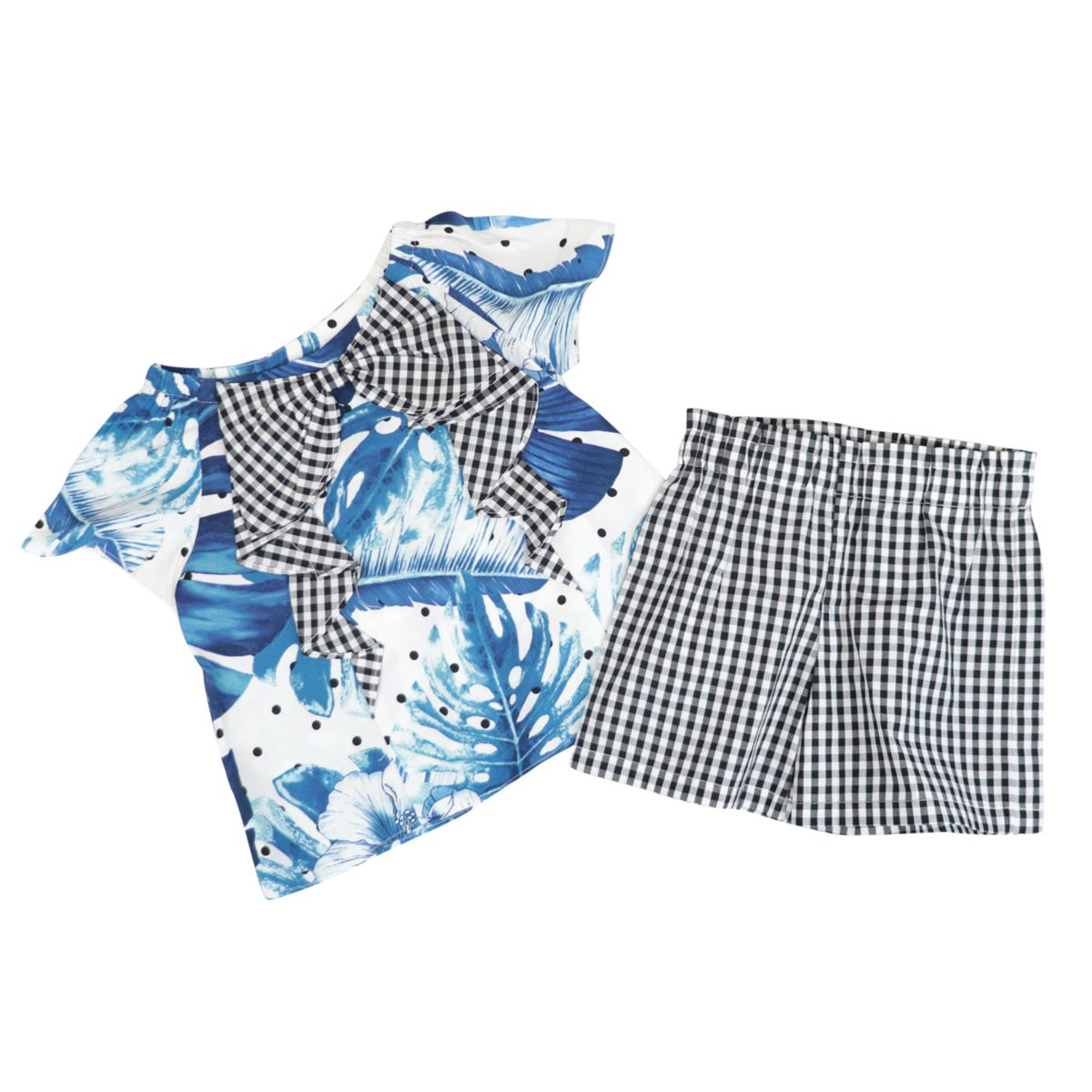 Cotton set with tropical and Vichy print Blue Twin-Set