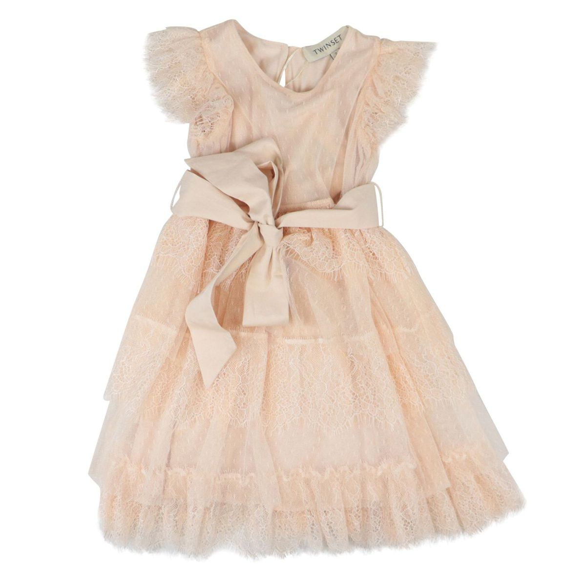 Tulle and lace dress with flounces and bow Rose Twin-Set