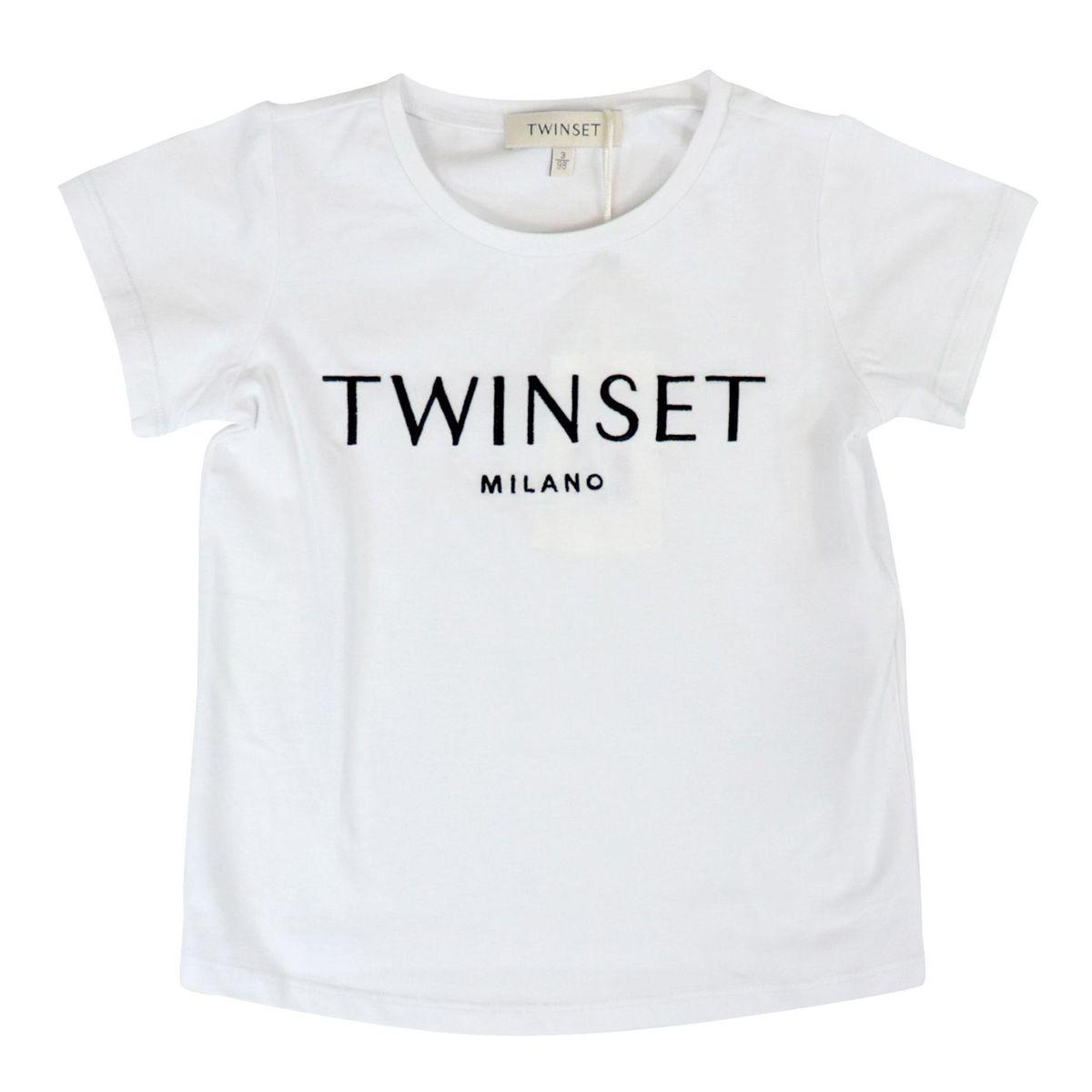 T-shirt in cotone stretch con logo ricamo Bianco / nero Twin-Set