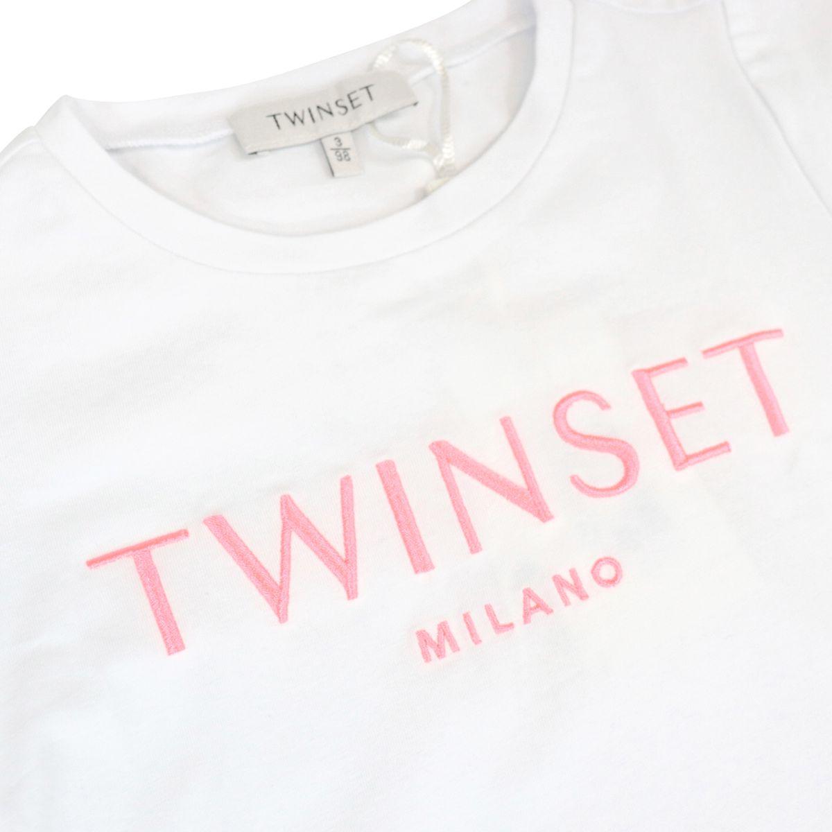 T-shirt in cotone stretch con logo ricamo Bianco / rosa Twin-Set