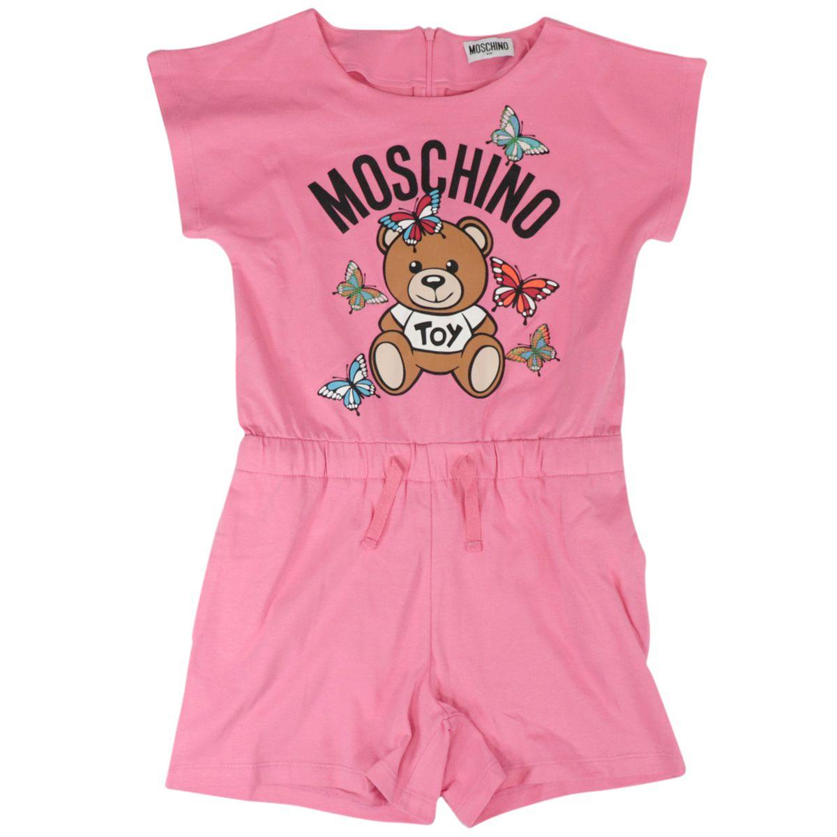 Bear cotton print onesie Deep pink Moschino