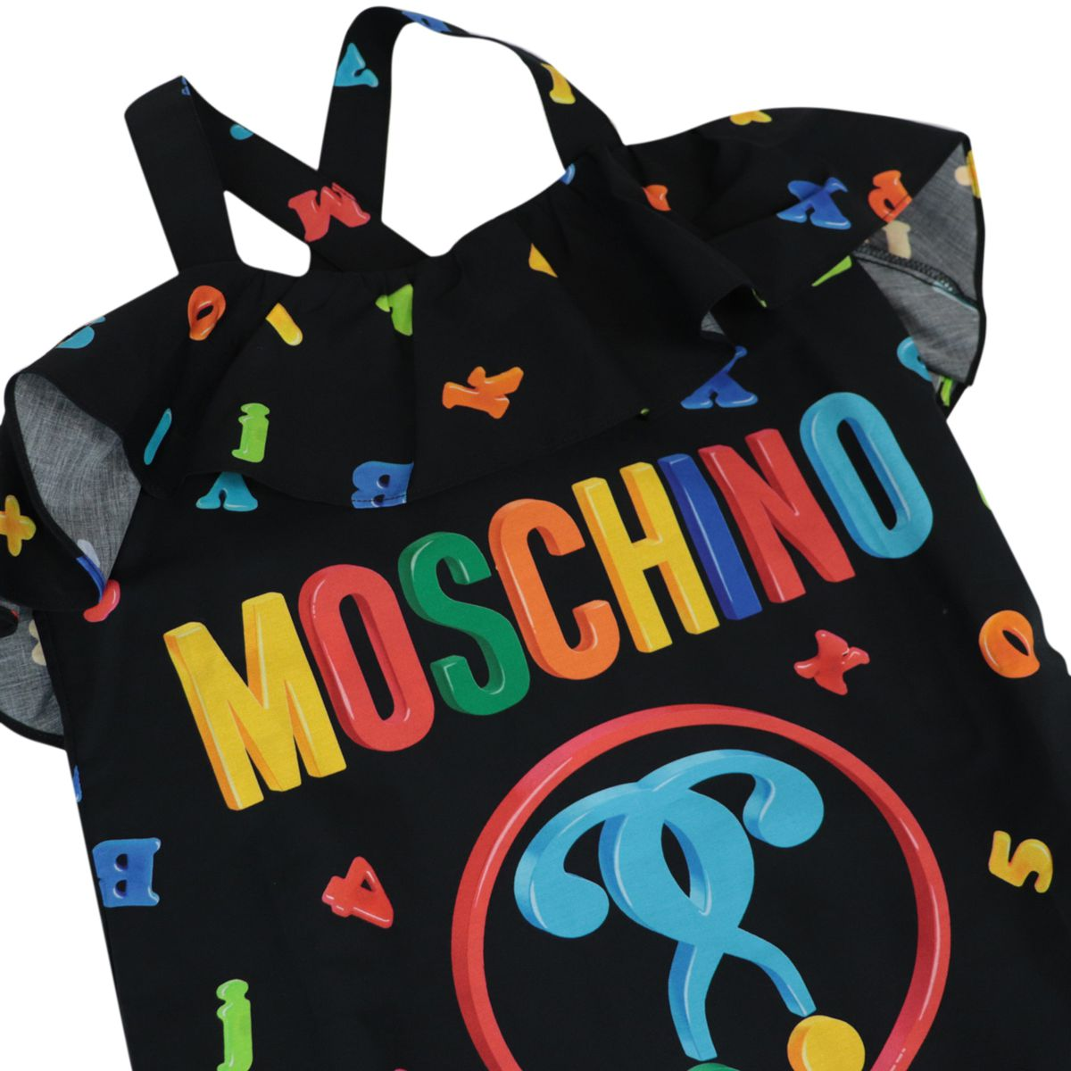 Cotton dress with boat neckline and ruffles Black Moschino