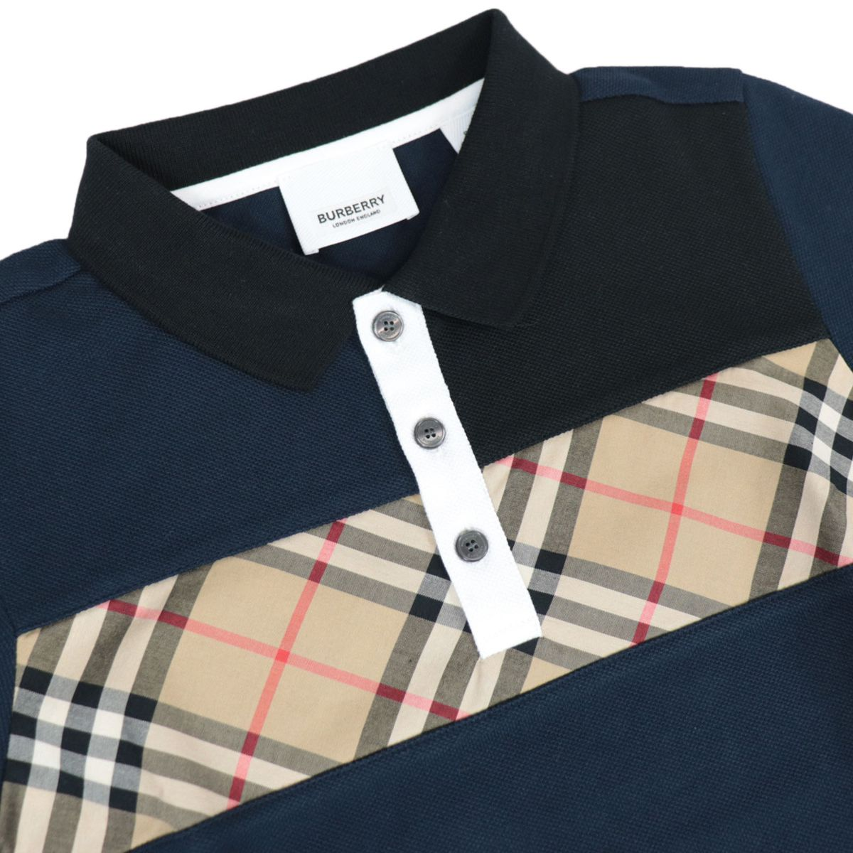 Jeff polo shirt in cotton with check pattern front band Navy Burberry