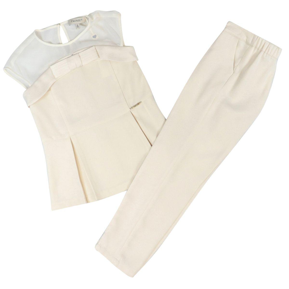 Completo blusa e pantalone in satin e georgette Panna Twin-Set
