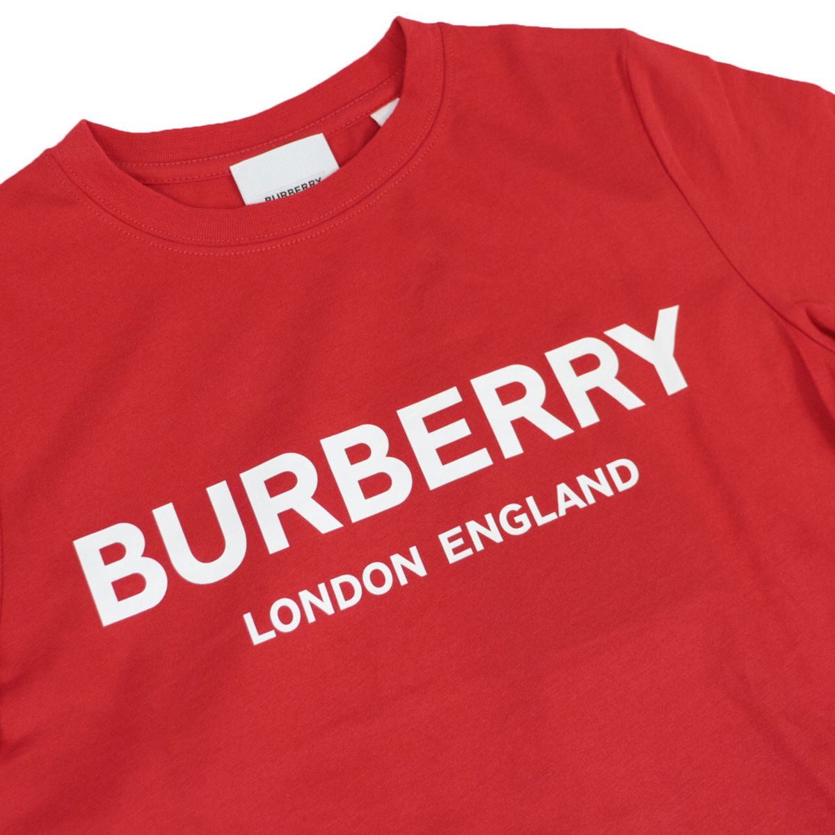 Short sleeve cotton t-shirt with logo print Red Burberry