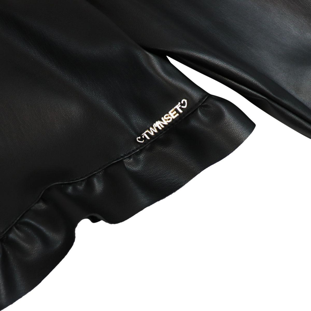 Giacca in simil pelle leggera con volant Nero Twin-Set