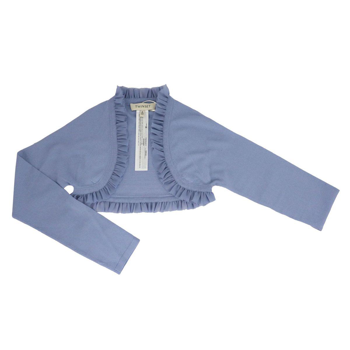 Coprispalla in viscosa stretch con volant in georgette Blu notte Twin-Set