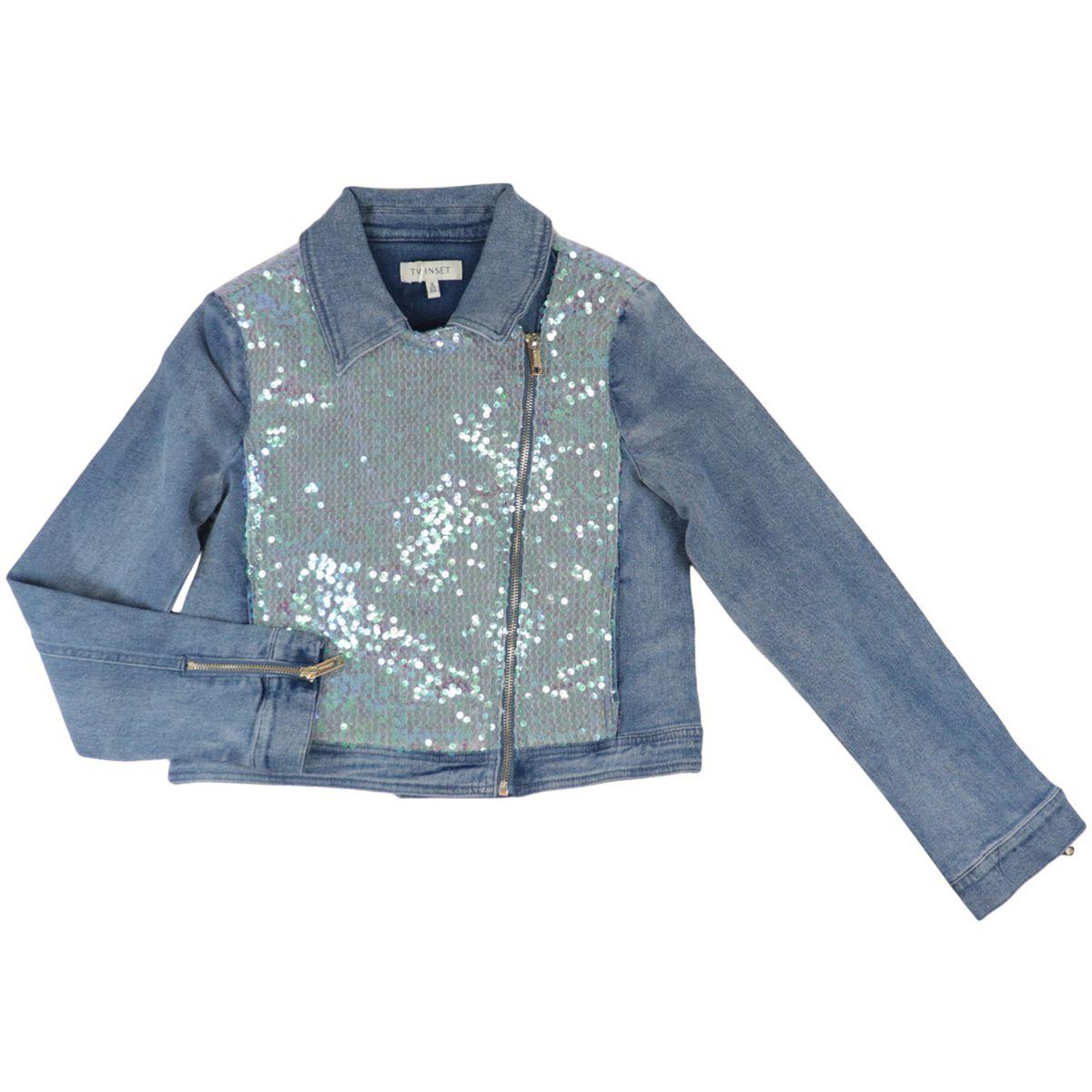 Giacca chiodo in jeans stretch con paillettes iridescenti Denim medio Twin-Set