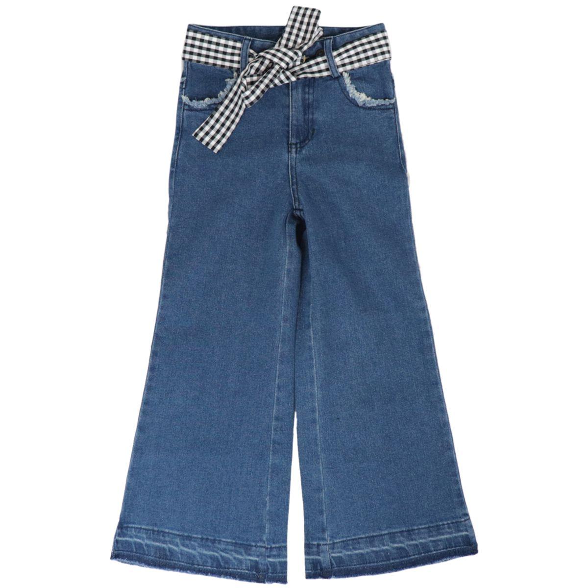 Jeans wide leg con cintura rimovibile in Vichy Denim medio Twin-Set