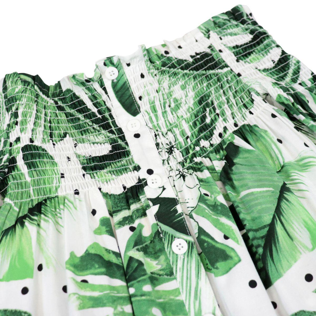 Abito in twill stampato con corpino elastico a punto smock Verde Twin-Set