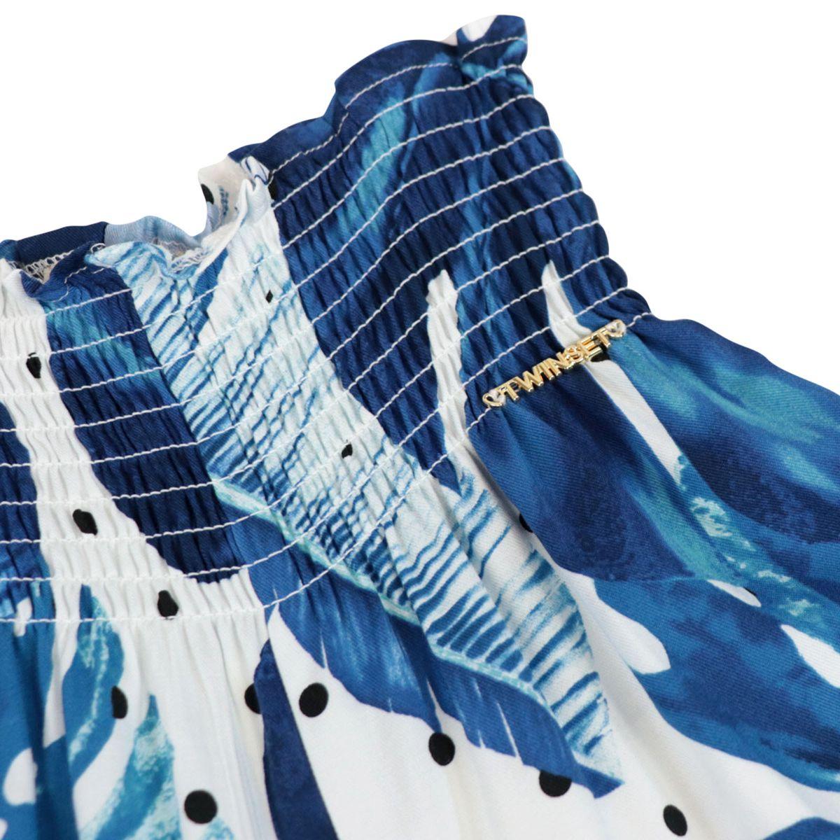 Pantalone cropped in twill con elastico punto smock in vita Bianco/azzurro Twin-Set