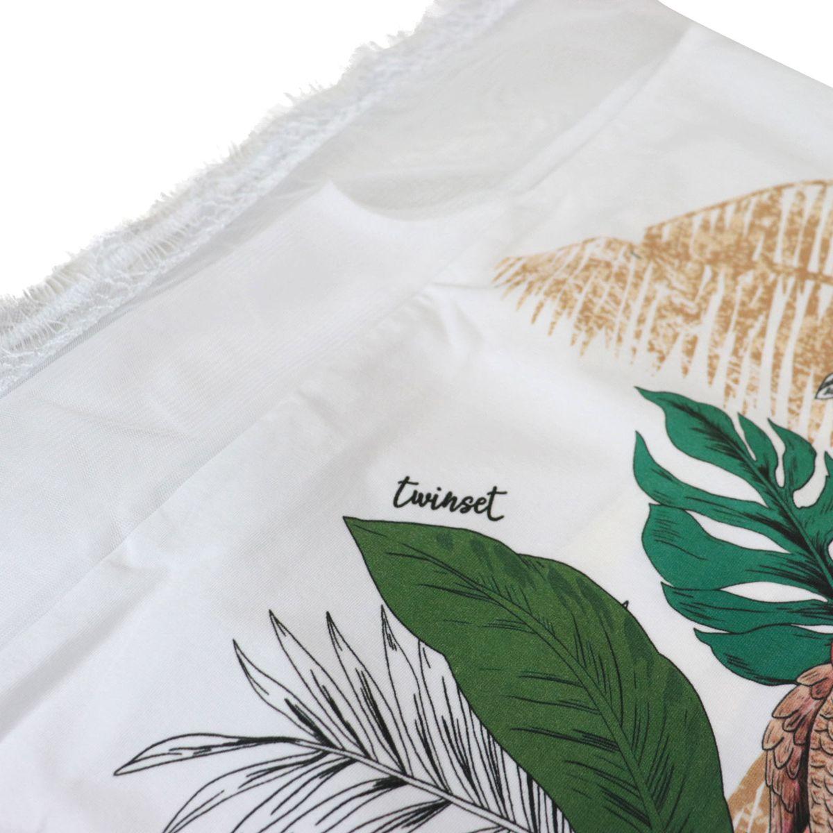 Maglia in jersey con stampa pappagallo con profili in voile e pizzo Bianco fantasia Twin-Set