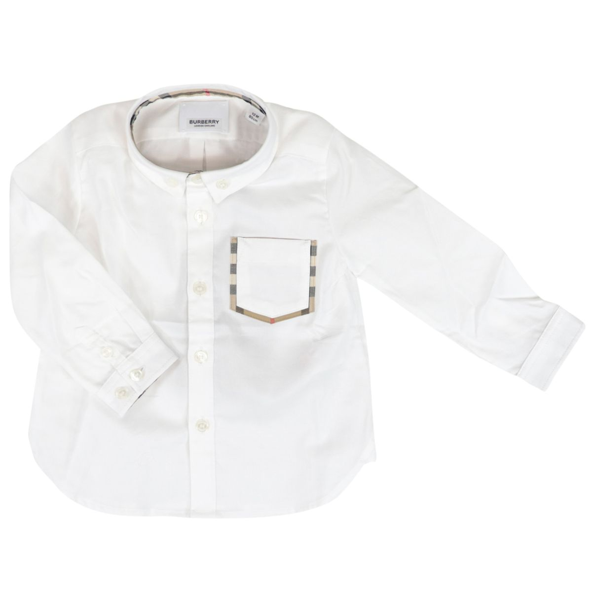 Long-sleeved cotton shirt with pocket and check patterned profiles White Burberry