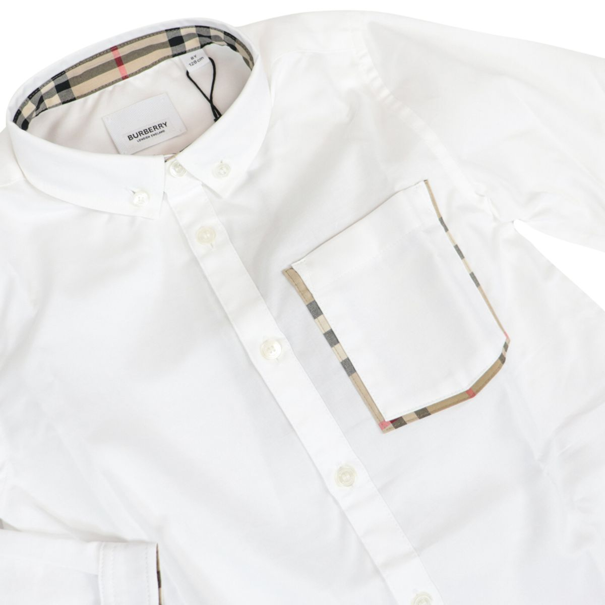 Long-sleeved cotton shirt with pocket and check profiles White Burberry