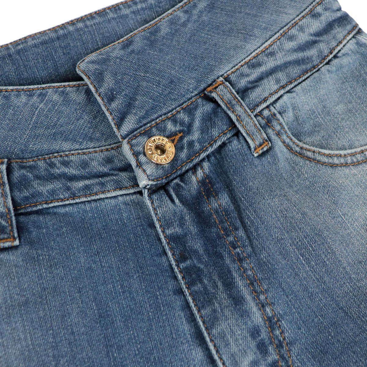 Jeans a vita alta con fondo stretto e rotture Denim medio Twin-Set