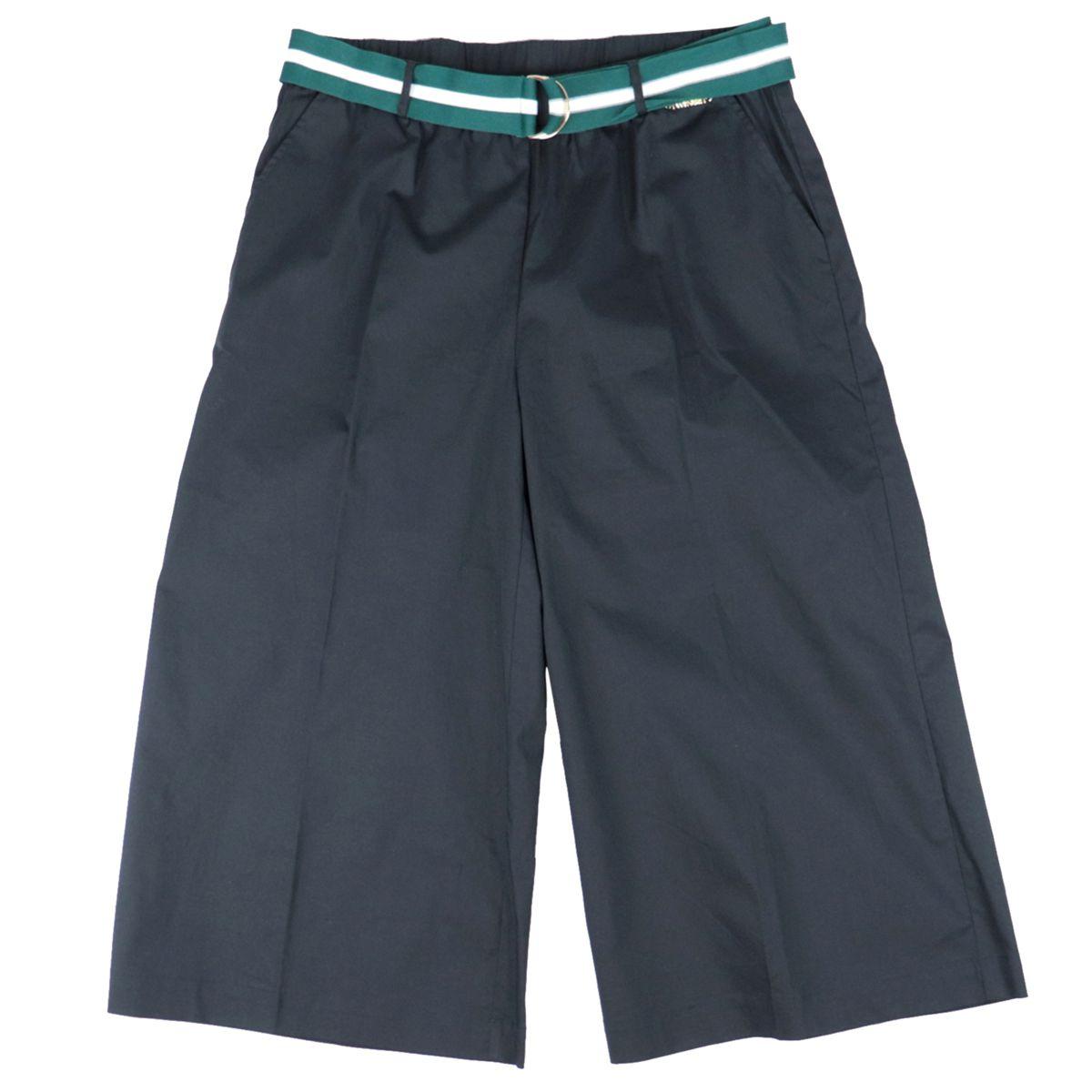 Pantaloni ampi in popeline con cintura a costine bicolor Nero/verde Twin-Set