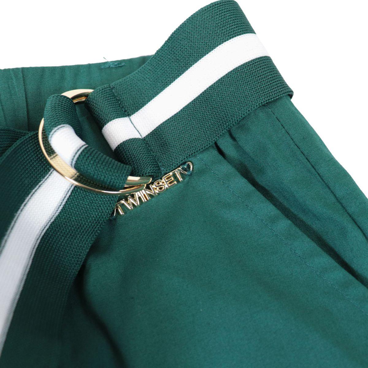 Pantaloni ampi in popeline con cintura a costine bicolor Smeraldo Twin-Set