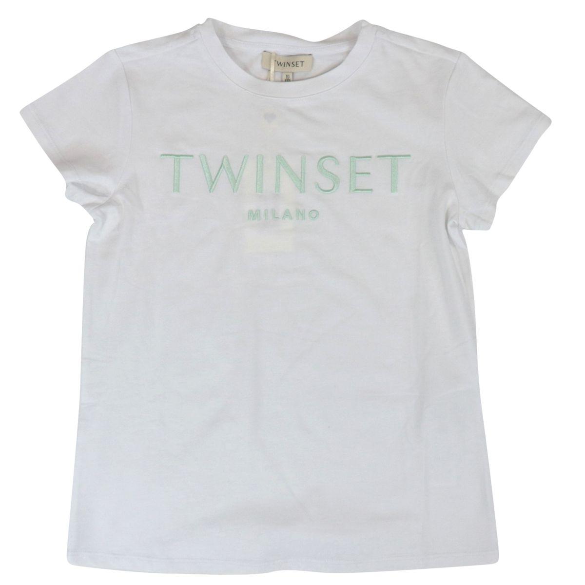T-shirt in jersey di cotone con logo ricamato Bianco/verde Twin-Set