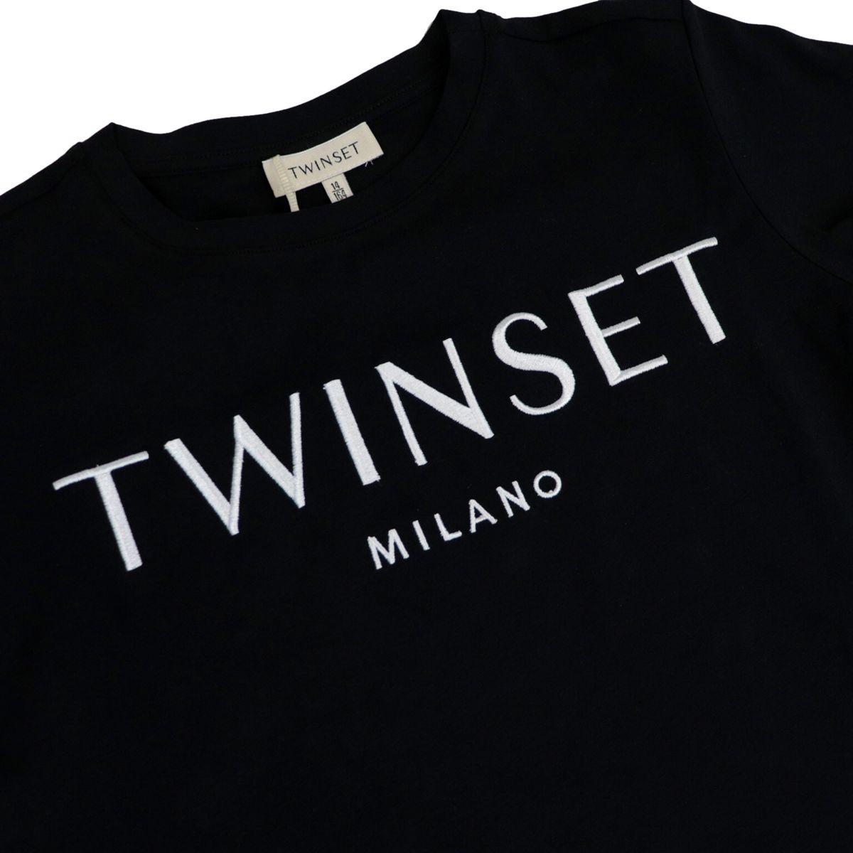 T-shirt in jersey di cotone con logo ricamato Nero/bianco Twin-Set