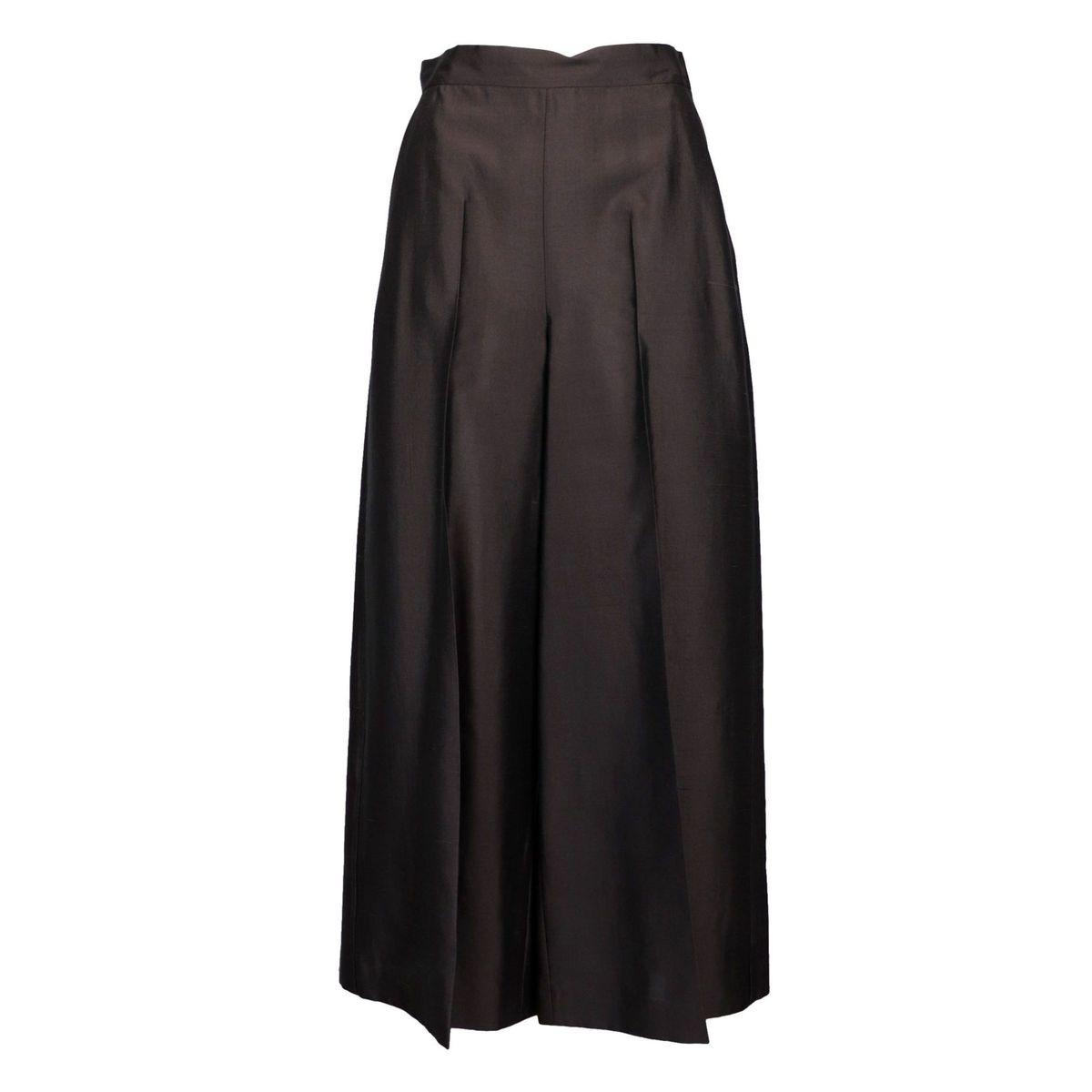 High waist silk shantung soap pants Brown MAX MARA STUDIO