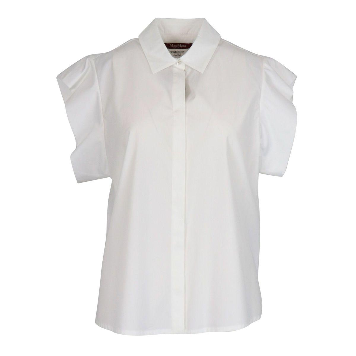 Muscari shirt in cotton with cap sleeves White MAX MARA STUDIO