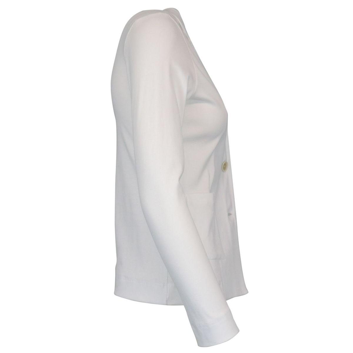 Three-button jacket in stretch cotton White Gran Sasso