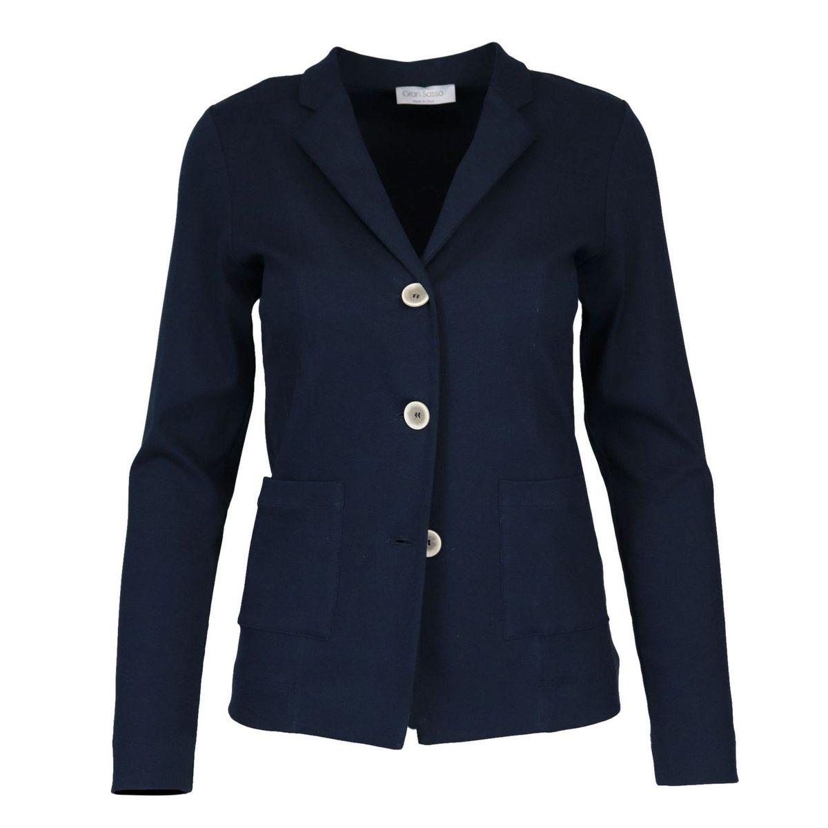 Three-button jacket in stretch cotton Blue Gran Sasso