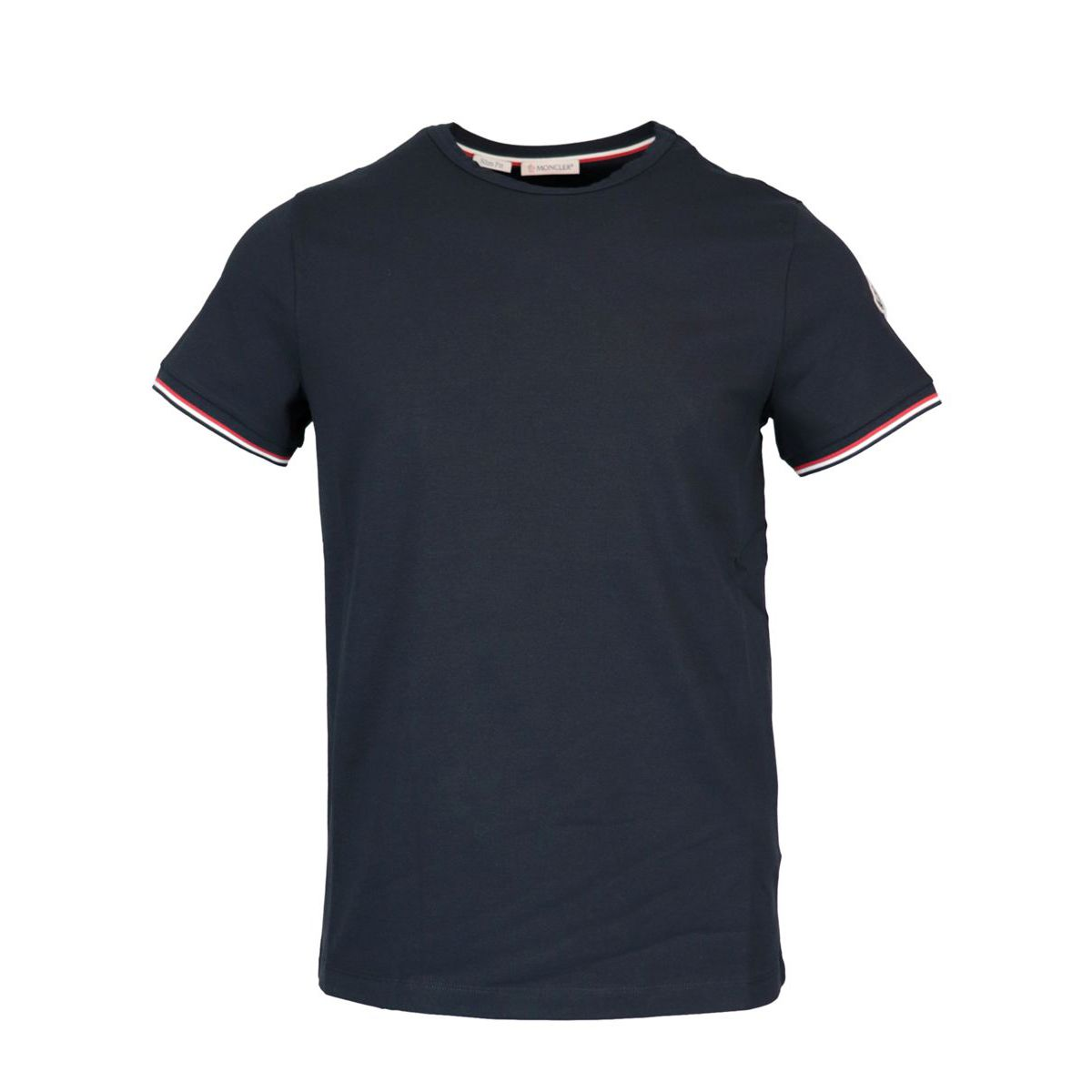 Stretch T-shirt with side logo Navy Moncler