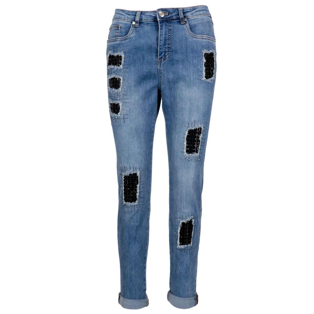 Slim jeans with contrasting fabric inserts Blue / denim Joseph Ribkoff