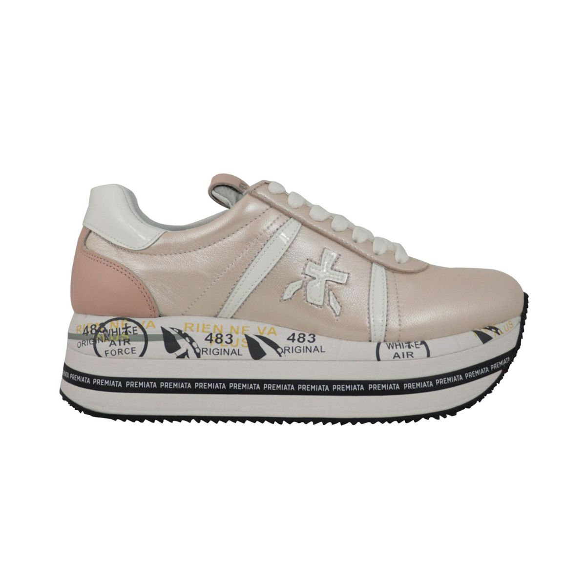 Beth platform sneakers in laminated leather with prints Dusty pink Premiata