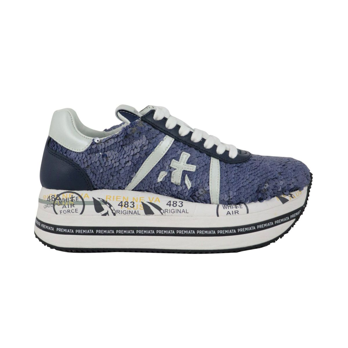 Beth platform sneakers in glitter leather with prints Blue Premiata