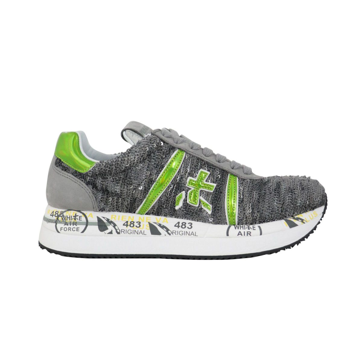 Conny sneakers in glitter leather with prints Grey green Premiata