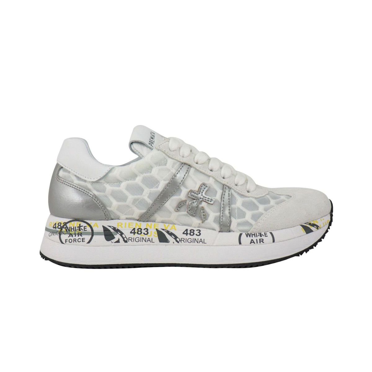 Conny sneakers in leather and printed fabric White / gray Premiata