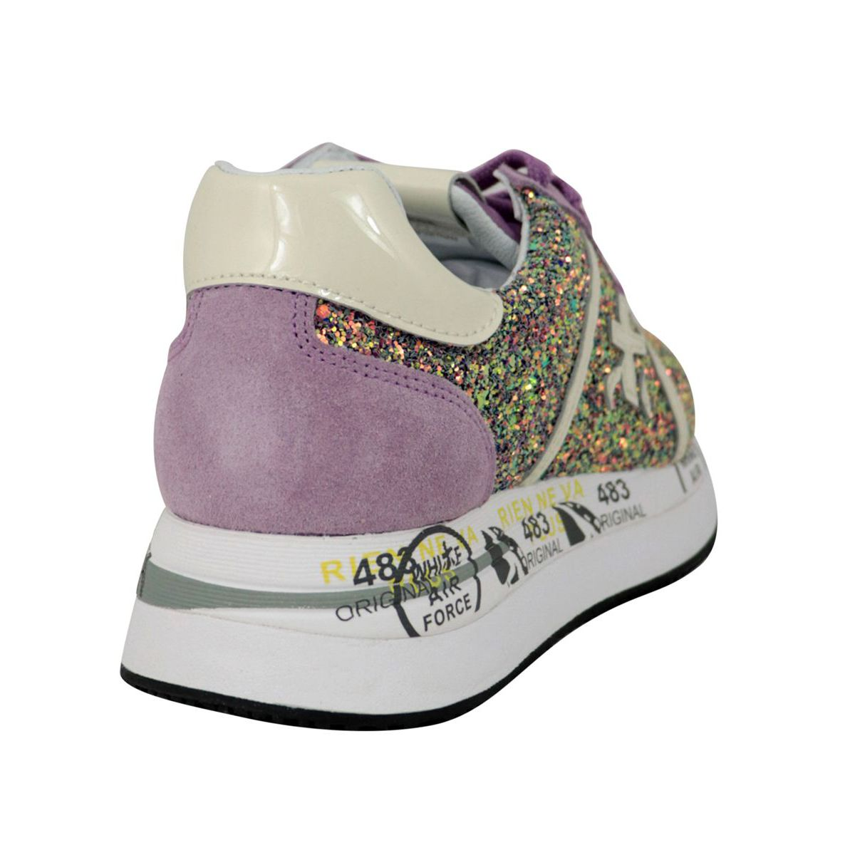 Conny sneakers with multicolor rhinestones and prints Wisteria Premiata