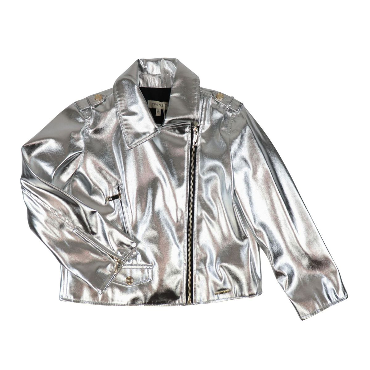 Giacca in simil pelle lamè Silver Twin-Set