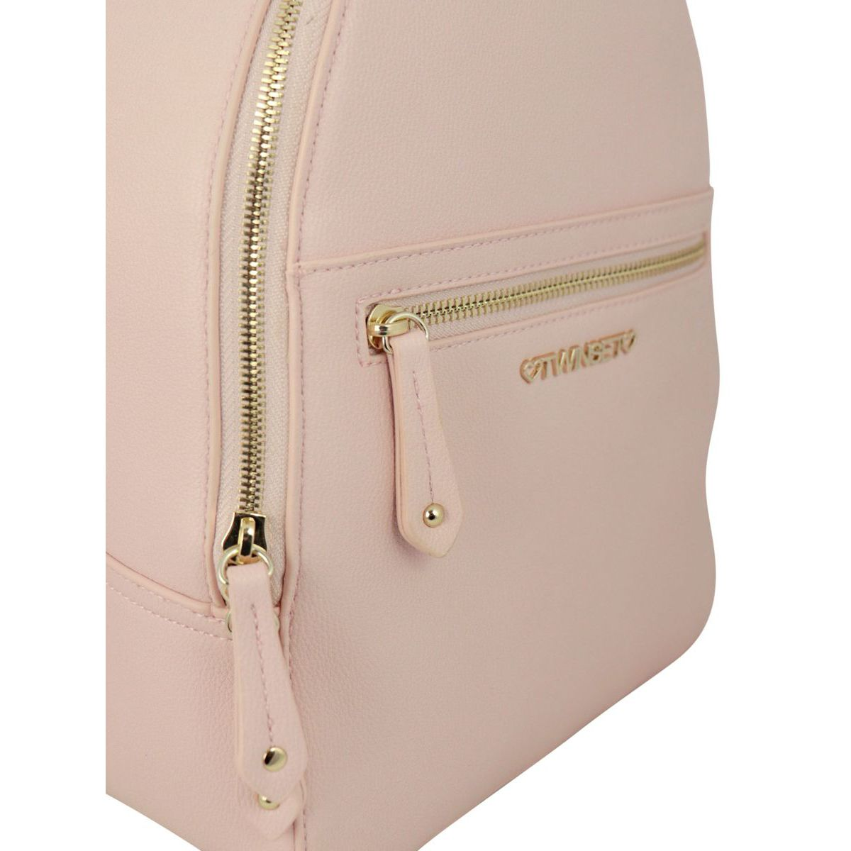 Faux leather backpack with contrasting logo and shoulder straps Rose Twin-Set