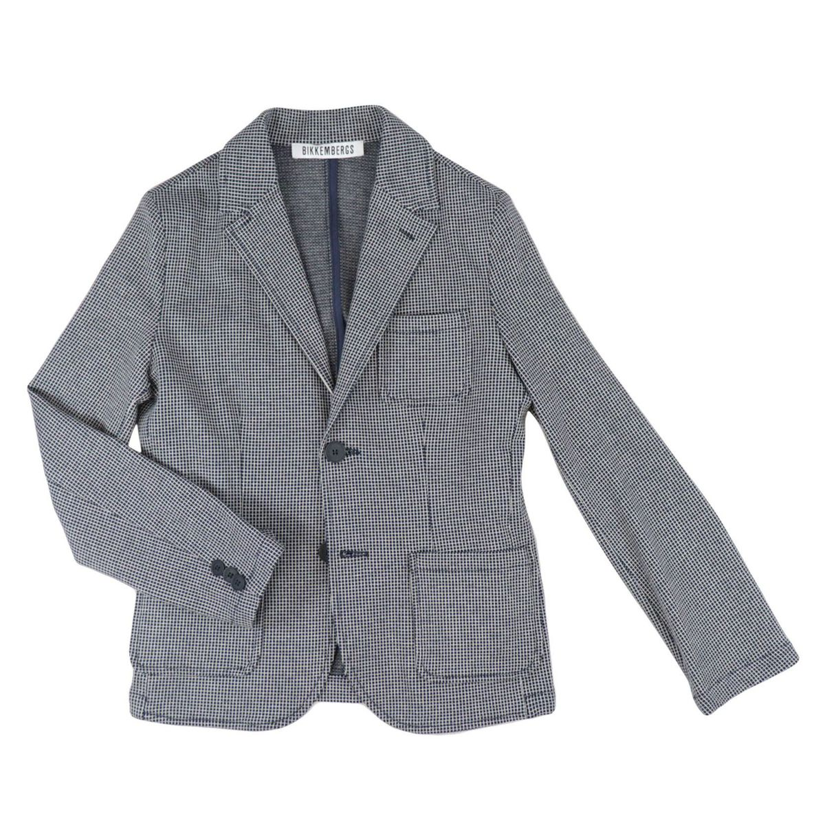 Micro-patterned cotton jacket Blue Bikkembergs